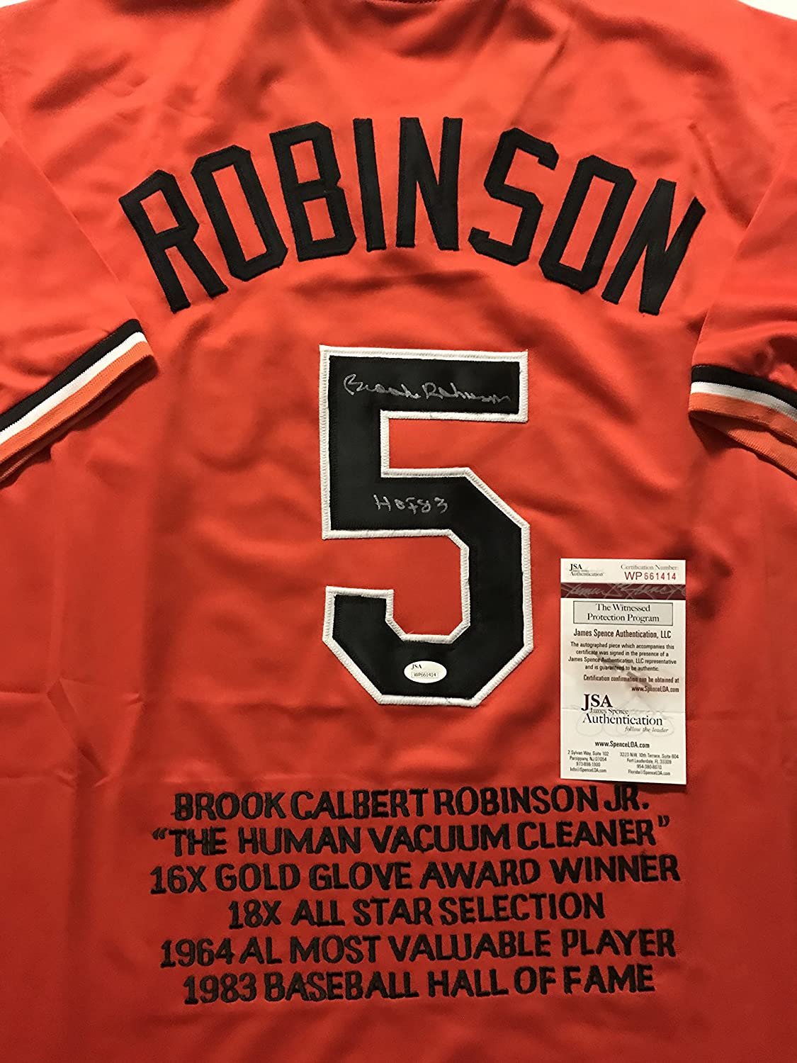 Autographed/Signed Brooks Robinson'HOF 83' Baltimore Orange Stat Baseball Jersey JSA COA