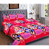 Krishnam Home Microfiber Barbie Girl 160 TC Double Bedsheet with 2 Pillow Covers - Baby Pink