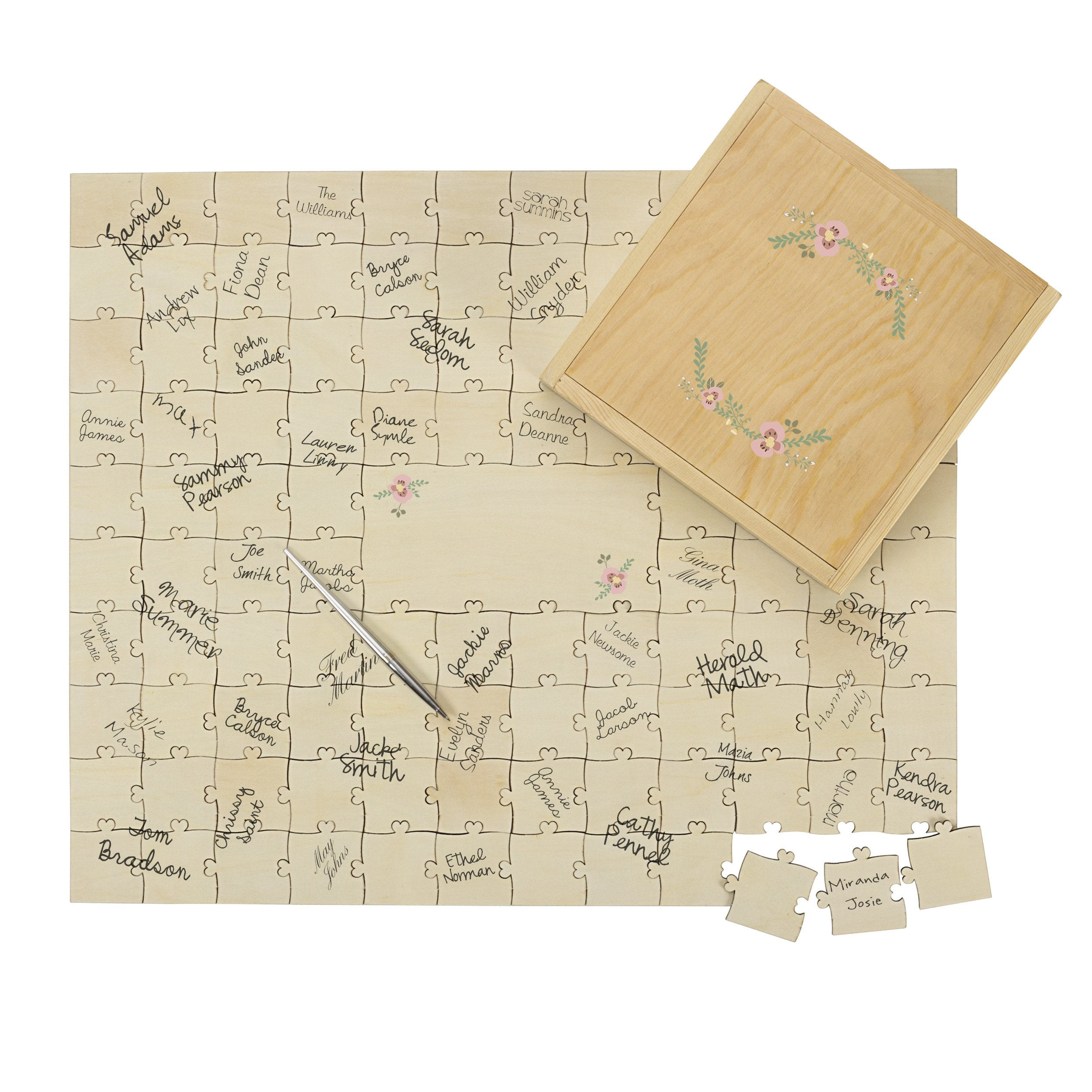 Cathy's Concepts Personalized Wedding Guestbook Puzzle, Tan