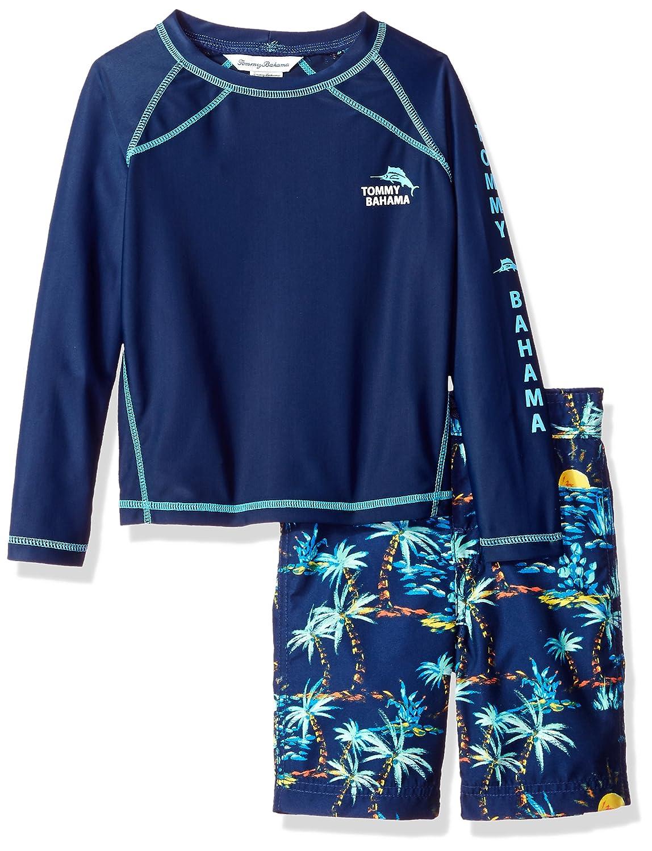 Tommy Bahama Boys Little Boys Rashguard and Trunks Swimsuit Set Palm Tree Sun 6 ST18E22