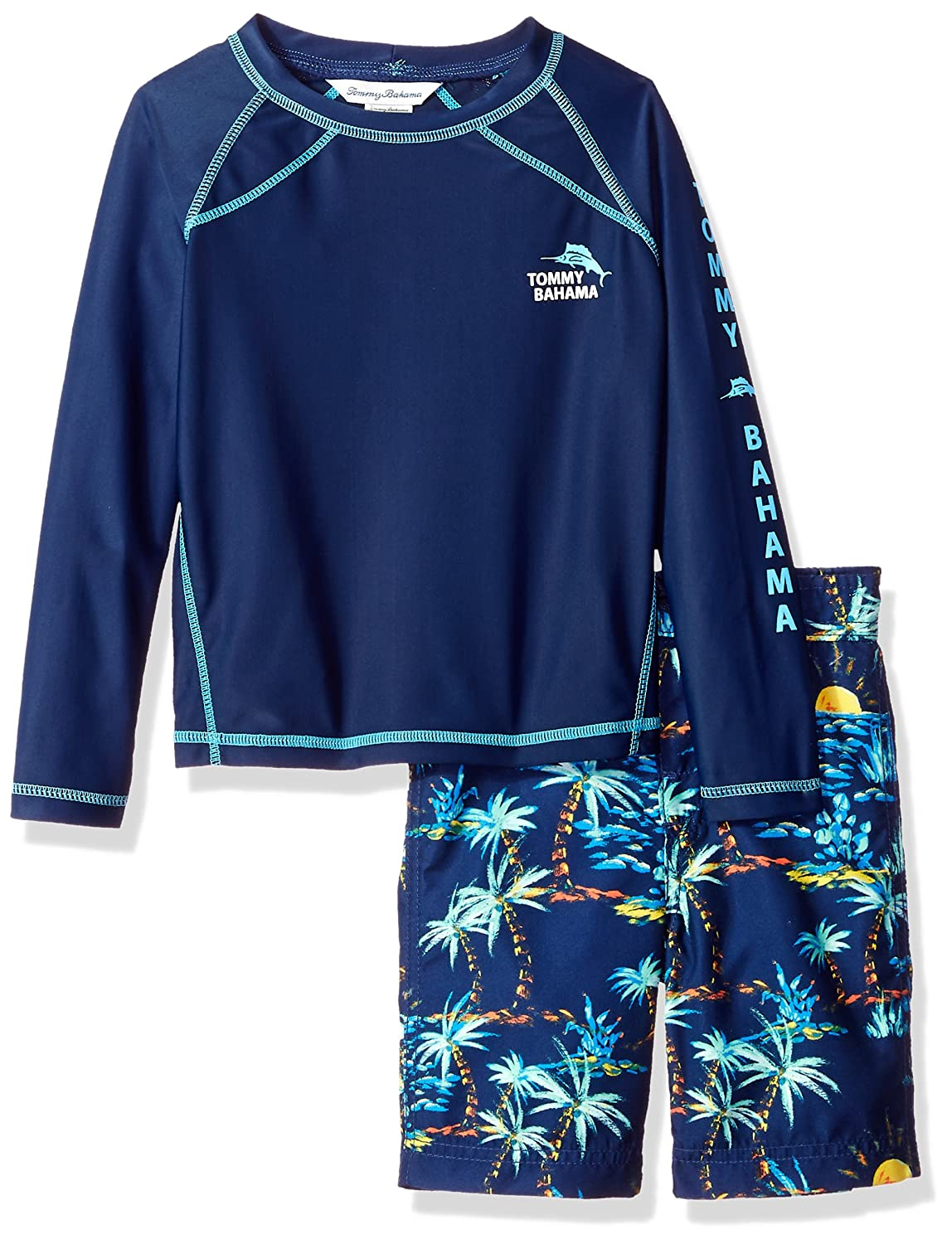 Tommy Bahama Boys' Little Rashguard and Trunks Swimsuit Set