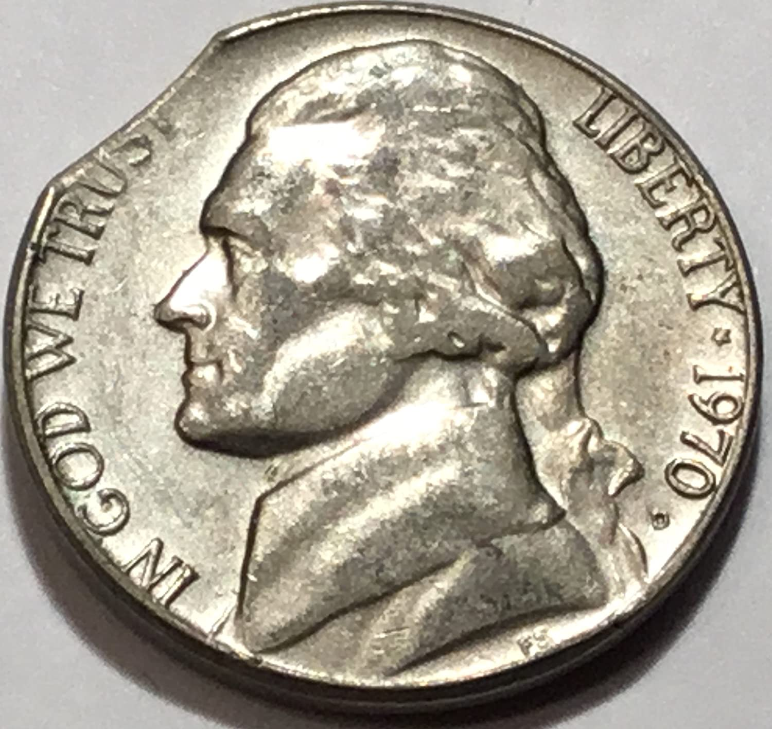 1970 D Jefferson Nickel Clipped Planchet Error Nickel About