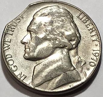 1970 D Jefferson Nickel Clipped Planchet Error Nickel About