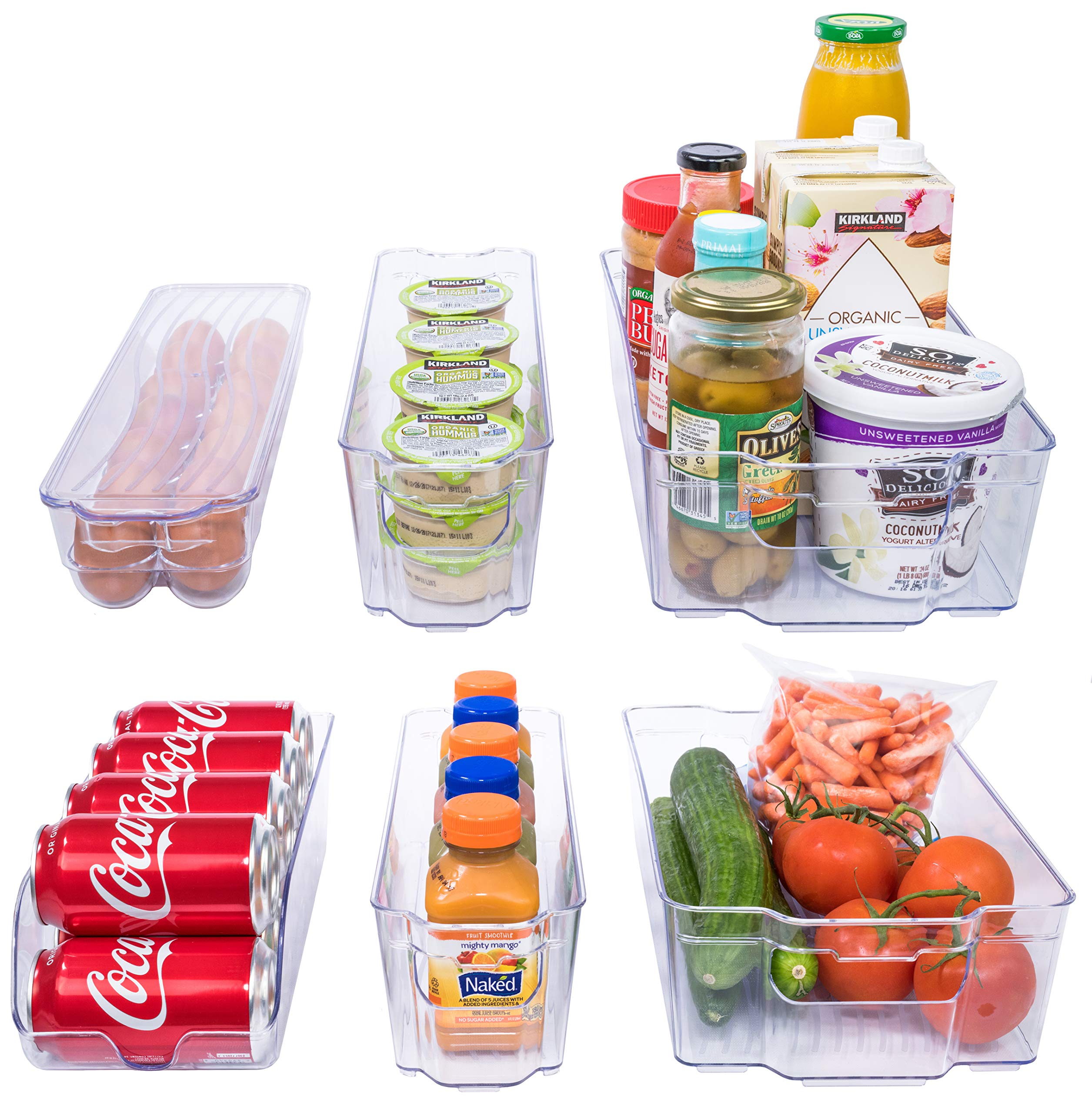 Adorn Home 6 Piece Refrigerator/Freezer Organizer Bins with Handles | Stackable Storage Containers | Pantry Storage Bins | Clear | 6 - PC. Set | by Adorn Home Essentials