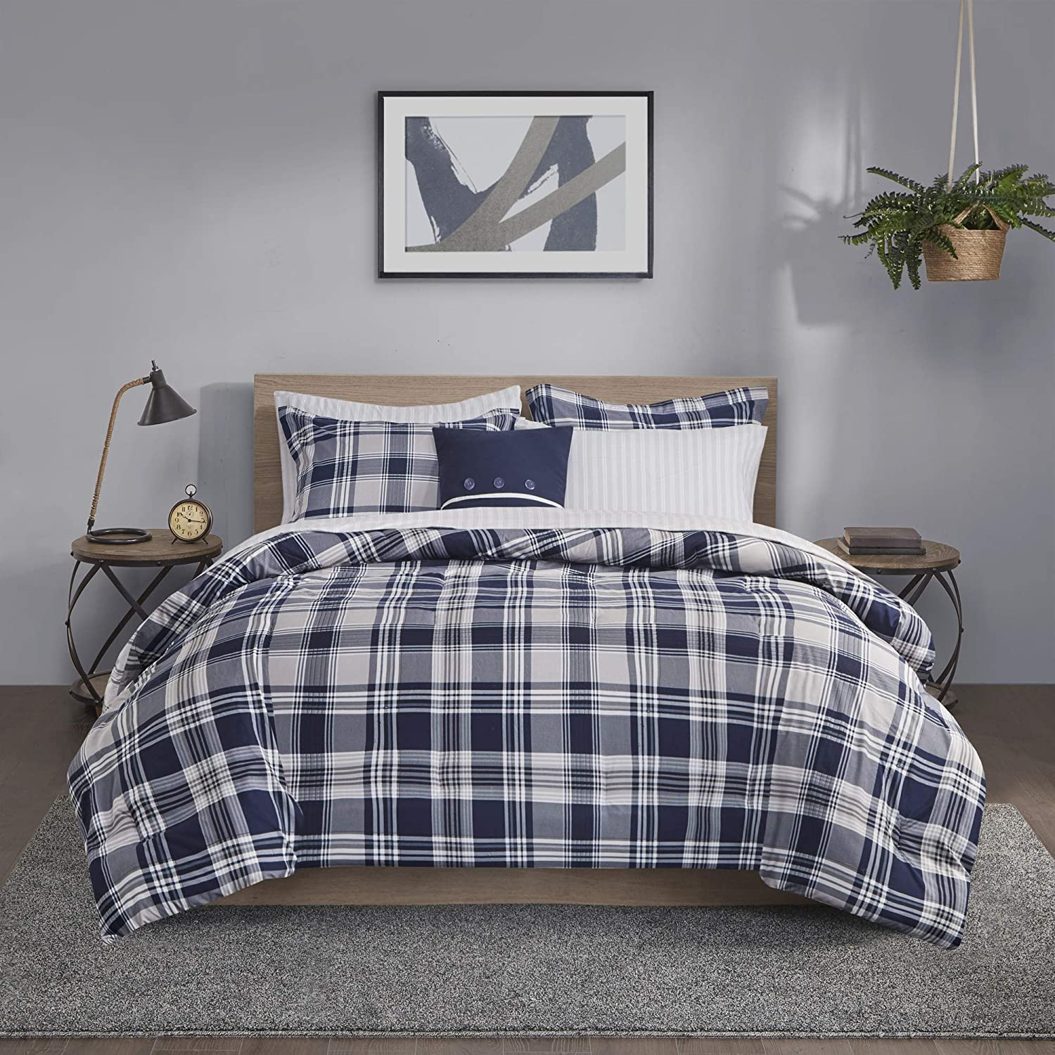 "Madison Park Essentials Patrick Cozy Bed in A Bag Reversible Comforter with Complete Sheet Set, Casual Plaid Cabin Design, All Season Cover, Decorative Pillow, Queen(90""x90""), Navy 8 Piece"