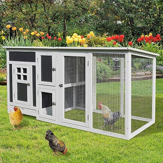 PawHut Gallinero Exterior Madera Integrado Run Limpieza Bandeja Casa para Gallinas Jaula para Animales Pequeños Pollo 160x75x80cm: Amazon.es: Productos para ...