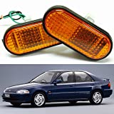 VXMOTOR 92-95 Honda Civic Amber Lens Flat Side Marker Lights Lamp Replacement Fender JDM Si EG6