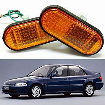 VXMOTOR 92 95 Honda Civic Amber Lens Flat Side Marker Lights Lamp  Replacement Fender JDM