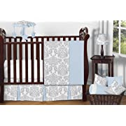 Sweet Jojo Designs 11-Piece Blue, Gray and White Avery Damask Print Girl or Boy Baby Bedding Collection Unisex Crib Set Without Bumper