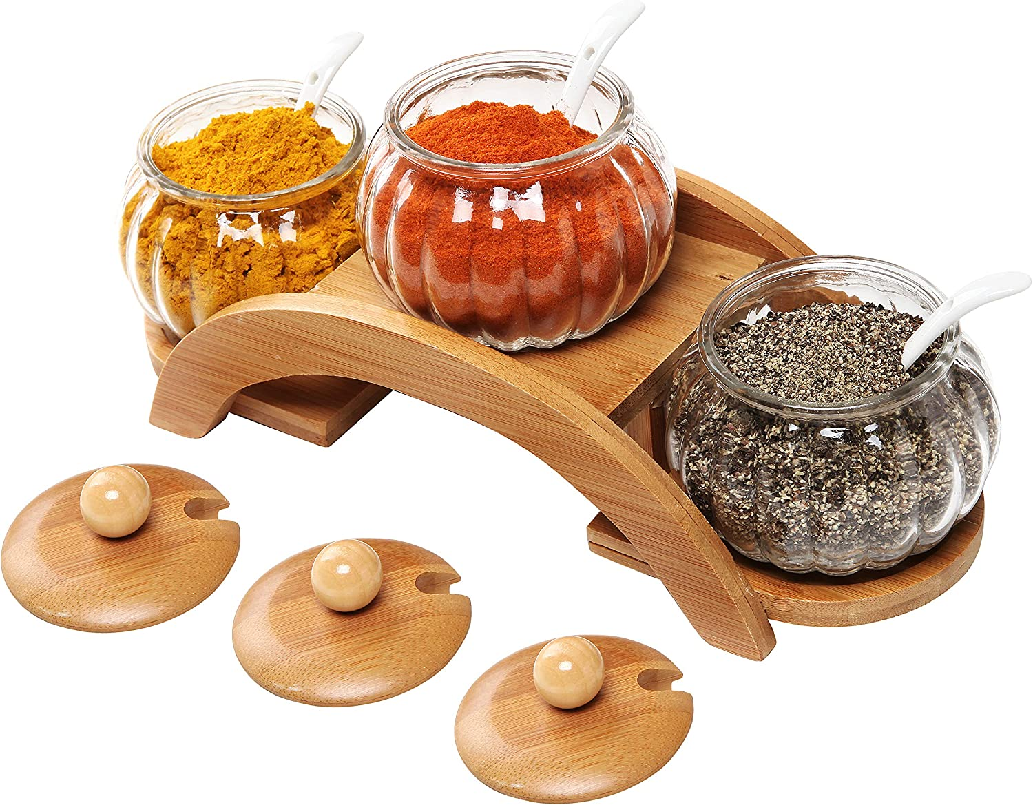 (Set of 3) Clear Glass Condiment Spice Jars, Ceramic Serving Spoons & 2 Tier Wood Display Rack - MyGift 91LXWrYBdRL