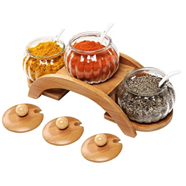 (Set of 3) Clear Glass Condiment Spice Jars, Ceramic Serving Spoons & 2 Tier Wood Display Rack - MyGift