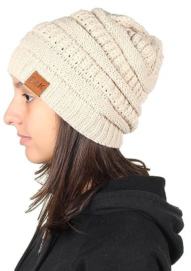 Gilbin C K Knit Beanie Trendy Warm Chunky Thick Soft Warm Winter Hat Beanie  Skully Beige 4ff36c677fc6