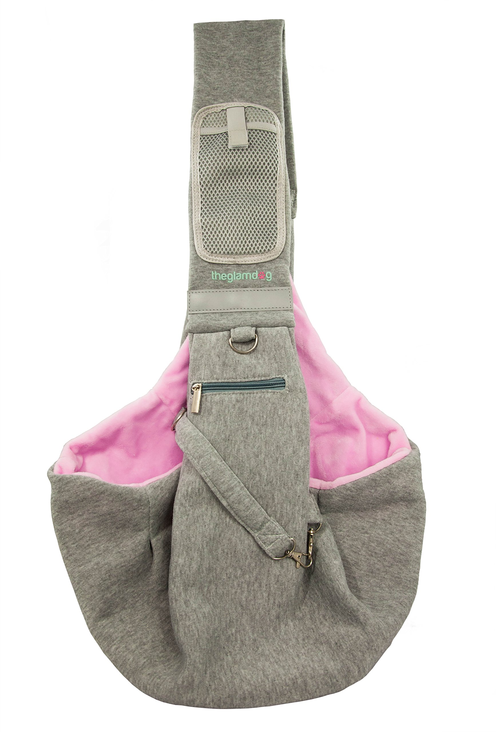 yohino Theglamdog Pet Carrier Shoulder Sling for Small Dogs and Cats, Smartphone Mesh Pocket with Fastenable Closure and Zippered Pocket for Treats, Waste Bags, Small Flashlight (Grey/Pink)