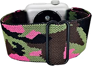 Generic Adjustable Stretchy Nylon Solo Sport Loop Bands for Apple Watch Band SE/6/5/4/3/2/1 (Camo Pink, 38/40mm)