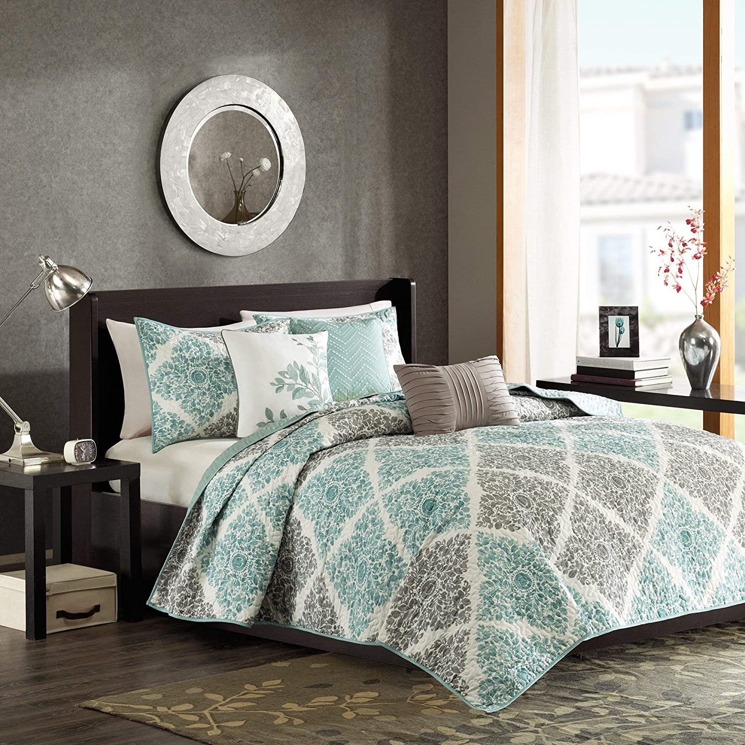 Madison Park Claire King/Cal King Size Quilt Bedding Set - Aqua, Grey, Leaf Geometric – 6 Piece Bedding Quilt Coverlets