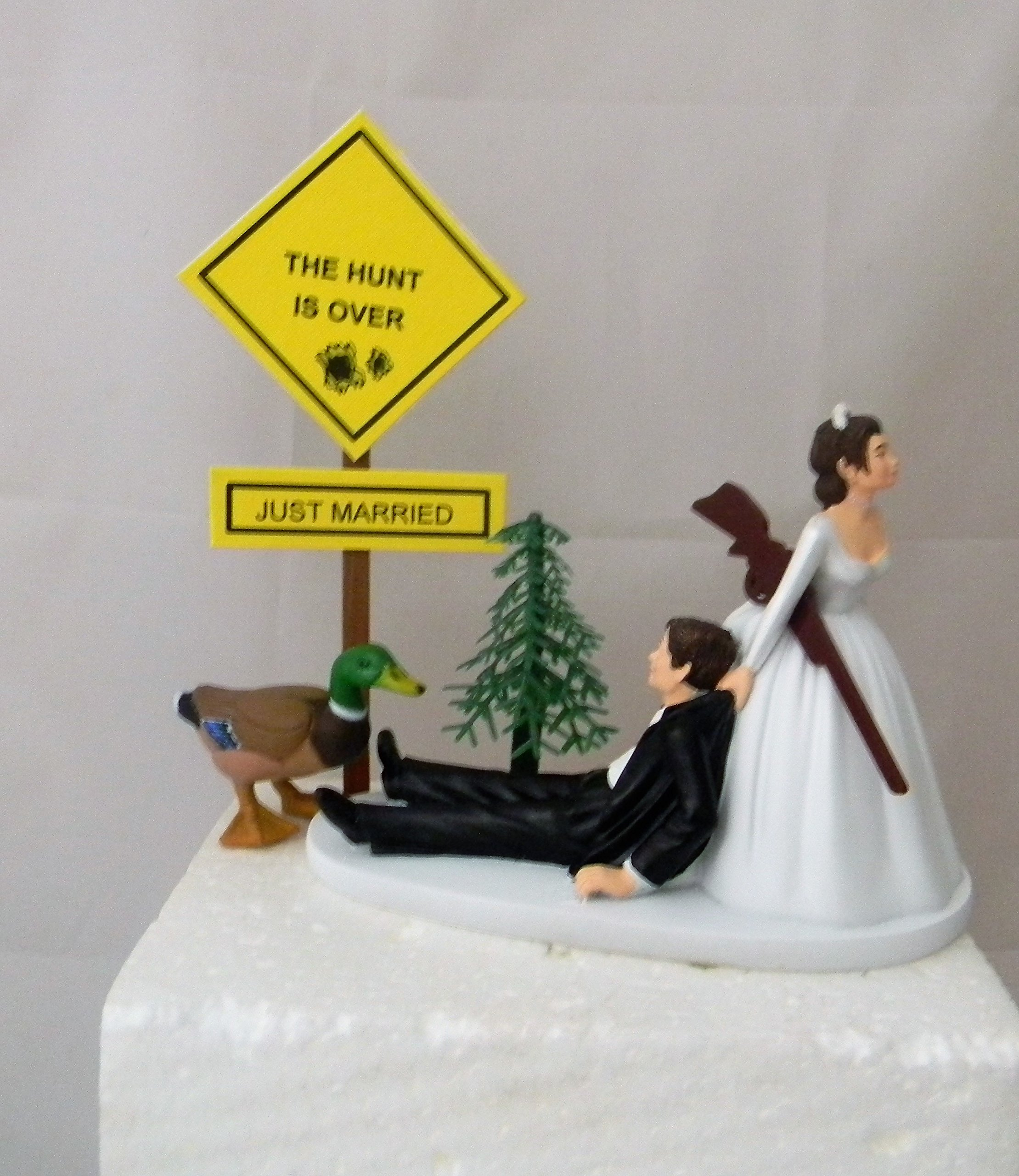 Wedding Reception Duck Fowl Hunter Hunting Dark Hair Cake Topper