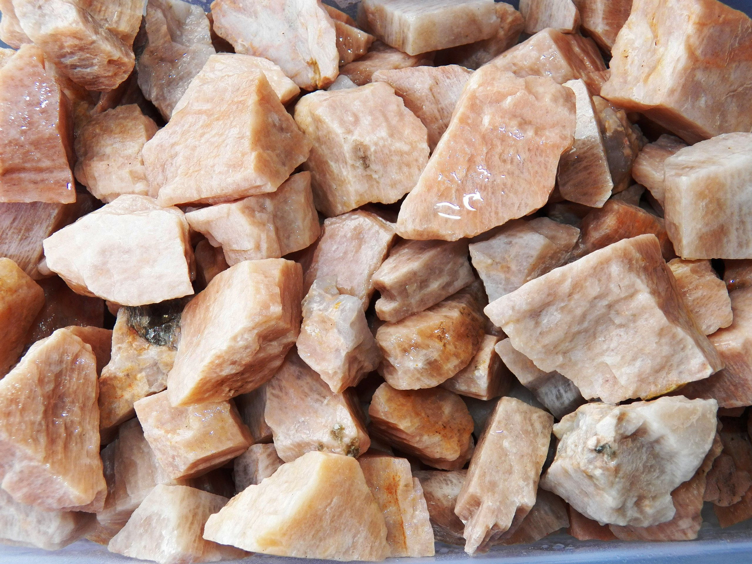Large Fundamental Rockhound Products: One Dark Peach Moonstone from India Tumbled Stone Gemstone Crystal 8.1-15 g 1