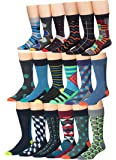 James Fiallo Mens 18-Pairs Colorful Patterned Fun Funky Dress Socks
