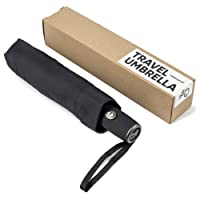 Windproof Travel Umbrella, Clear & Compact Design, Fast Drying Coating, Auto Open-Close Button & Slip-Proof Handle