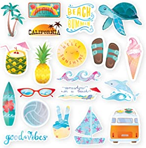 The Carefree Bee - 20 Beach Stickers for Water Bottles, Laptops, Hydro Flasks (Series 17)