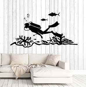 Vinyl Wall Decal Scuba Diving Center Diver Ocean Stickers Murals Large Decor (ig4706) Dark Red