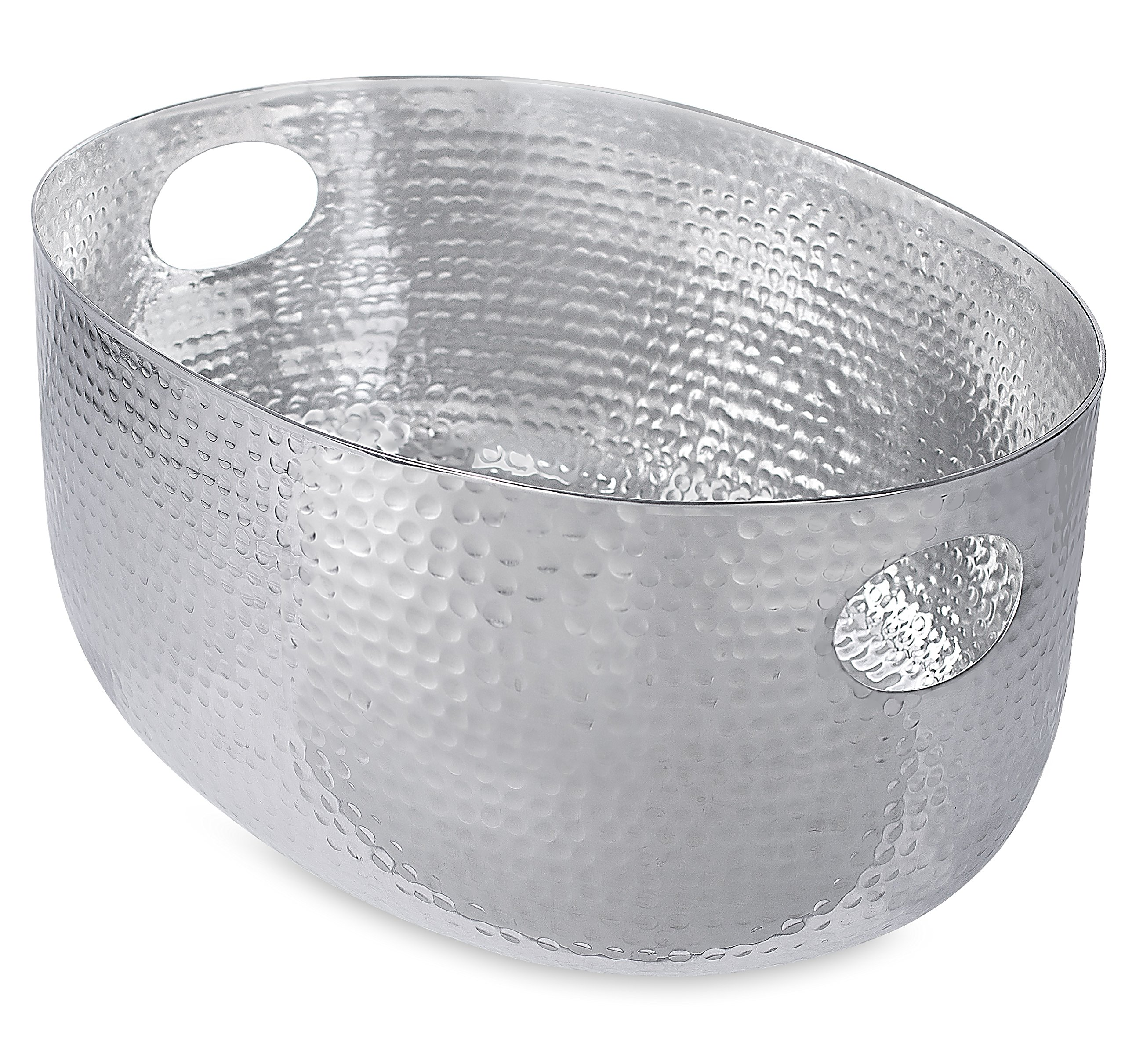 BirdRock Home Hammered Stainless Steel Beverage Tub | Oval | Party Drink Cooler Holder | Cutout Handles | Outdoor Indoor Use