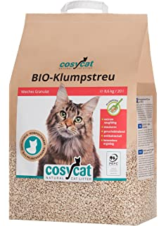 Arena para gatos COSYCAT biodegradable y aglomerante, 20 l, natural a base de madera