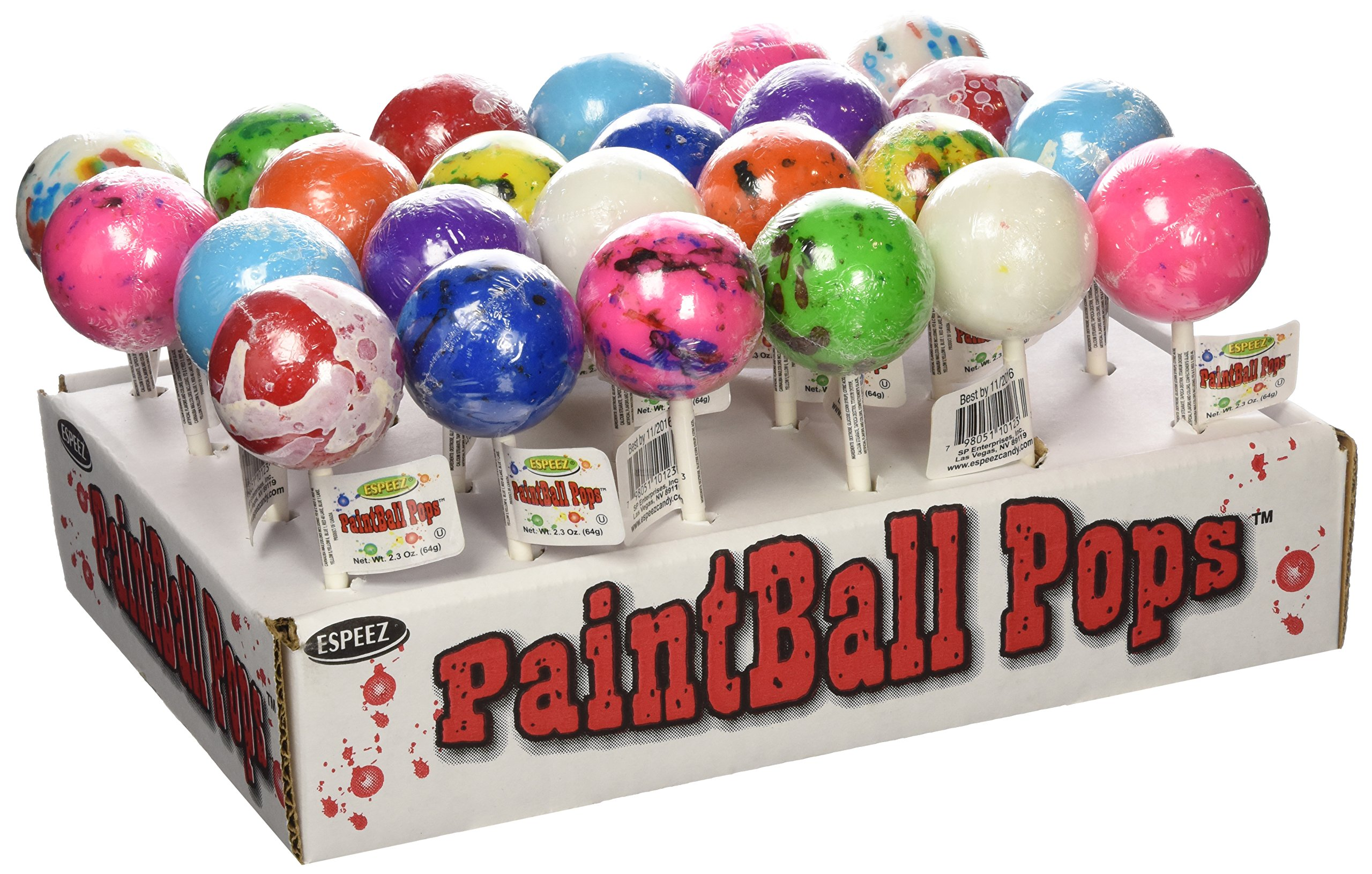 Espeez Candy Paintball Pops Giant Jawbreaker Lollipops - 24 count display by Paintball Pops