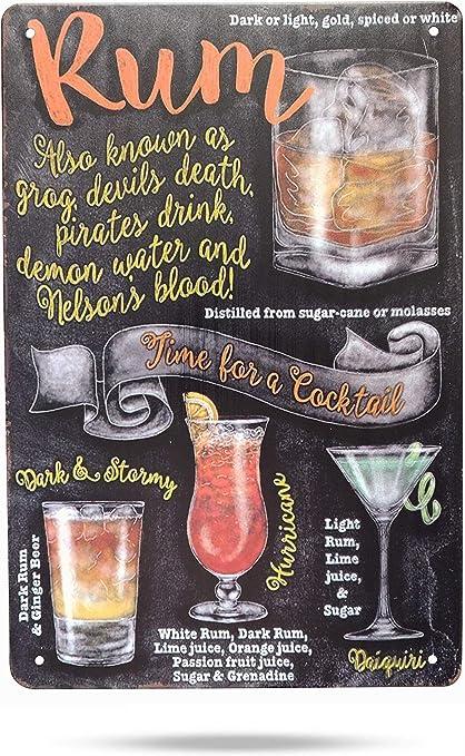 Karmour Accessories Cocktails - Pizarra de tiza estilo retro, 30 x 20 cm, letreros vintage para cuevas de hombre, cocinas, oficinas y más (rum)