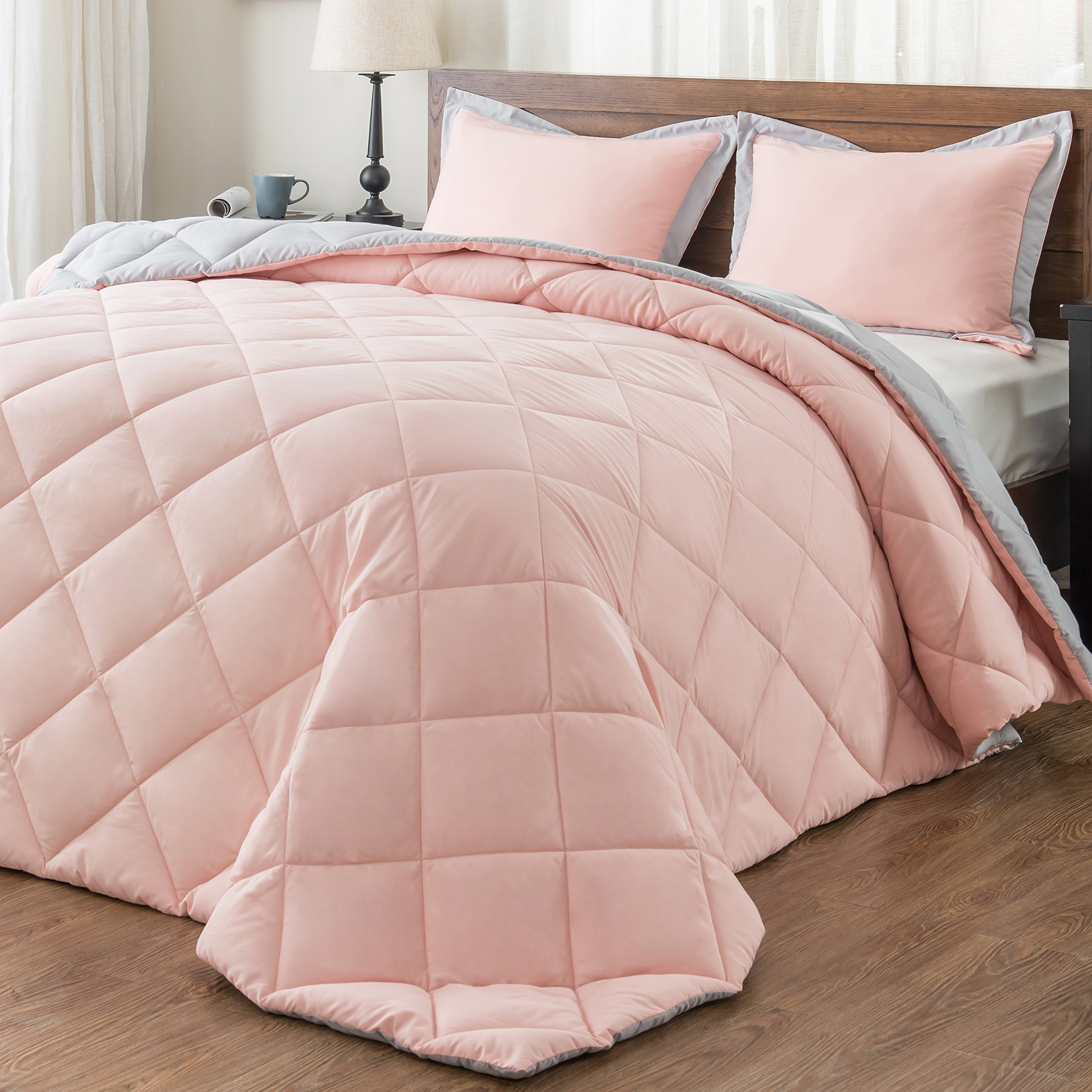 downluxe Back to School Lightweight Solid Comforter Set (Twin) with 1 Pillow Sham - 2-Piece Set - Coral and Grey - Hypoallergenic Down Alternative Reversible Comforter