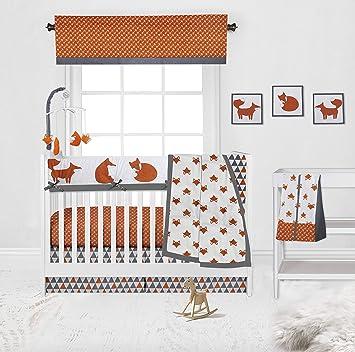 Amazon Com Bacati Playful Fox 10 Piece Nursery In A Bag Crib Bedding Set With Long Rail Guard Orange Grey Baby