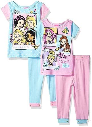 2ada0e72a0e6 Amazon.com  Disney Girls Multi-Princess 4-Piece Cotton Pajama Set ...