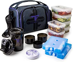 ThinkFit Insulated Meal Prep Lunch Box with 6 Food Portion Control Containers - BPA-Free, Reusable, Microwavable, Freezer Safe - With Shaker Cup, Pill Organizer, Shoulder Strap & Side Pocket (Purple)
