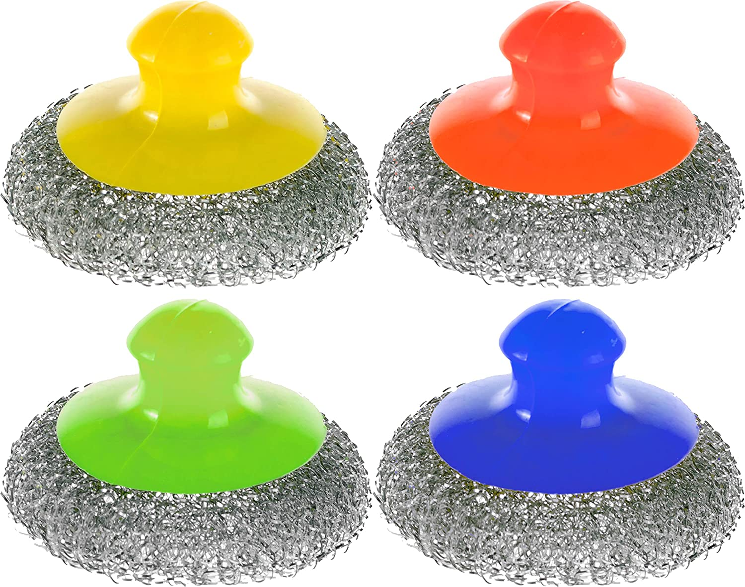 Wire Stainless Steel Sponge - Set of 4 - Handle Wool Scouring Scrubber - Metal Scrub Pads