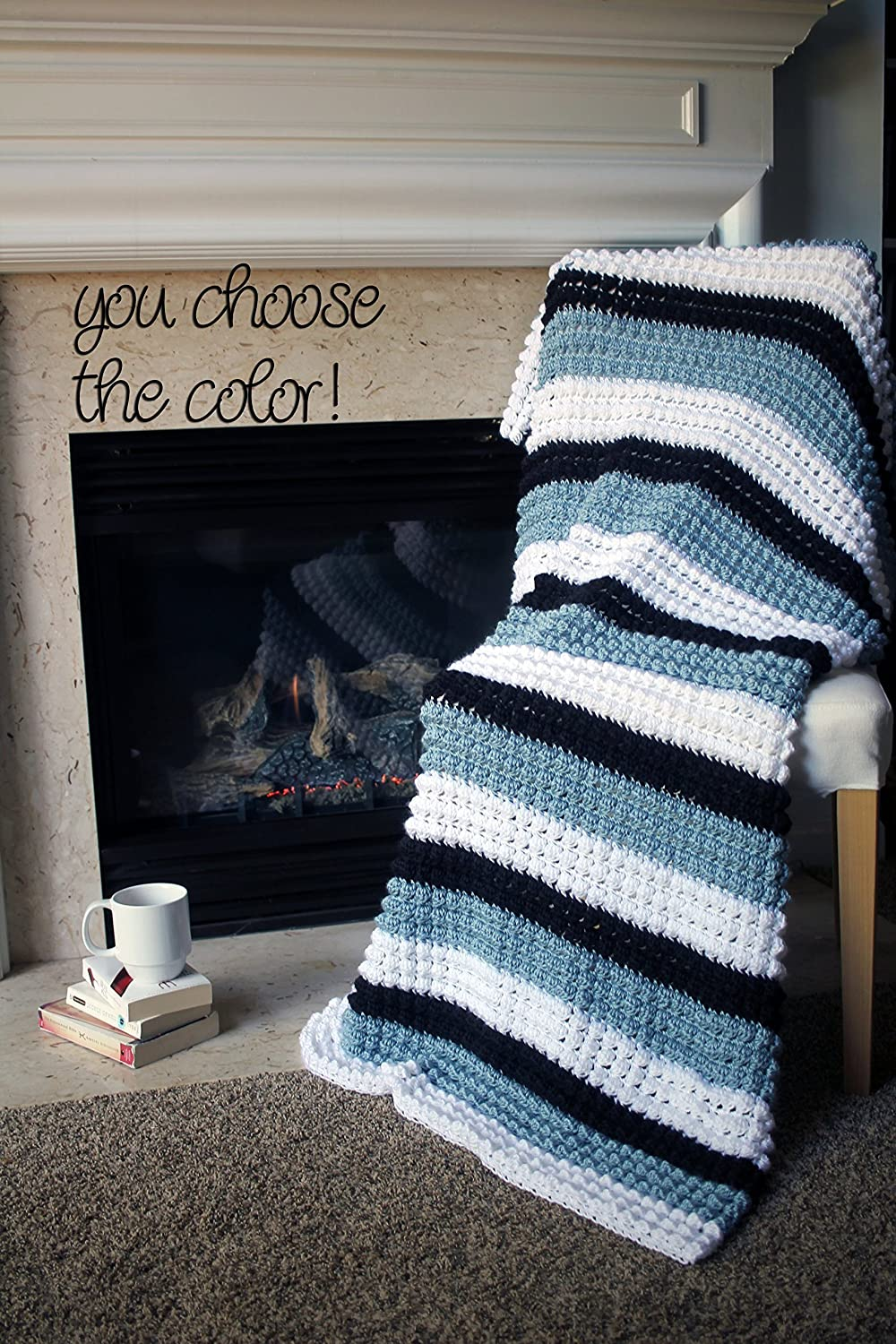 Image of Bobble Popcorn Afghan Throw Blanket Crochet - Striped Light Country Blue, White, and Black - Made To Order Home and Kitchen