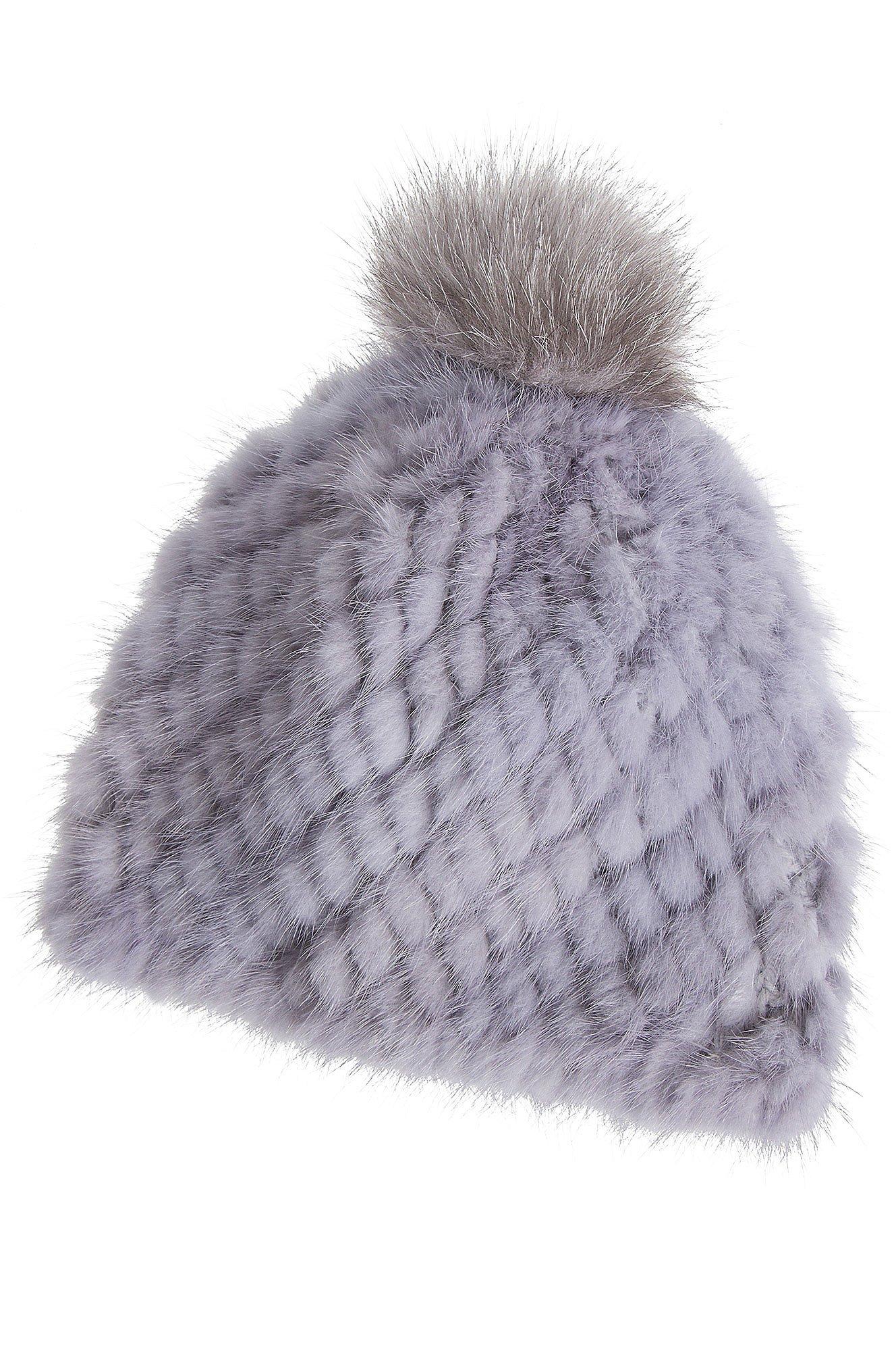 Overland Sheepskin Co Knitted Mink Fur Beanie Hat With Fox Fur Pom