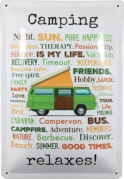 AnneSvea Camping Relaxes. Cartel de Chapa Metal decoración Vanlife Camper Front womo Caravana Vintage Inglés