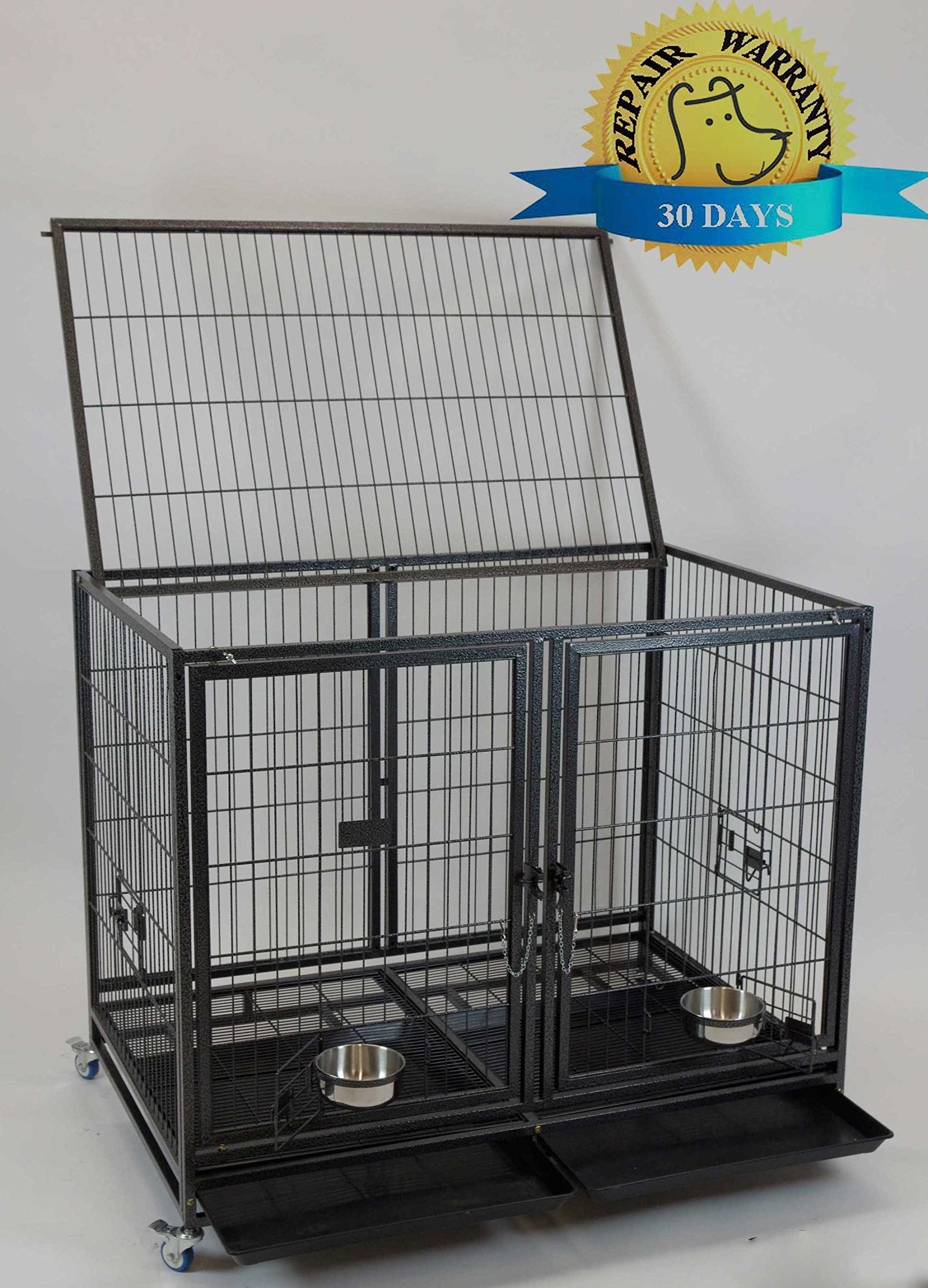 Homey Pet-43'' All Metal Open Top Stackable Heavy Duty Cage(Lower) w/ Floor Grid, Tray, Divider, Open Top, and Feeding Bowl