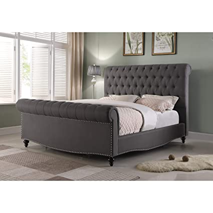 Amazon Com Overstock Furniture Linen Upholstered Sleigh Bed
