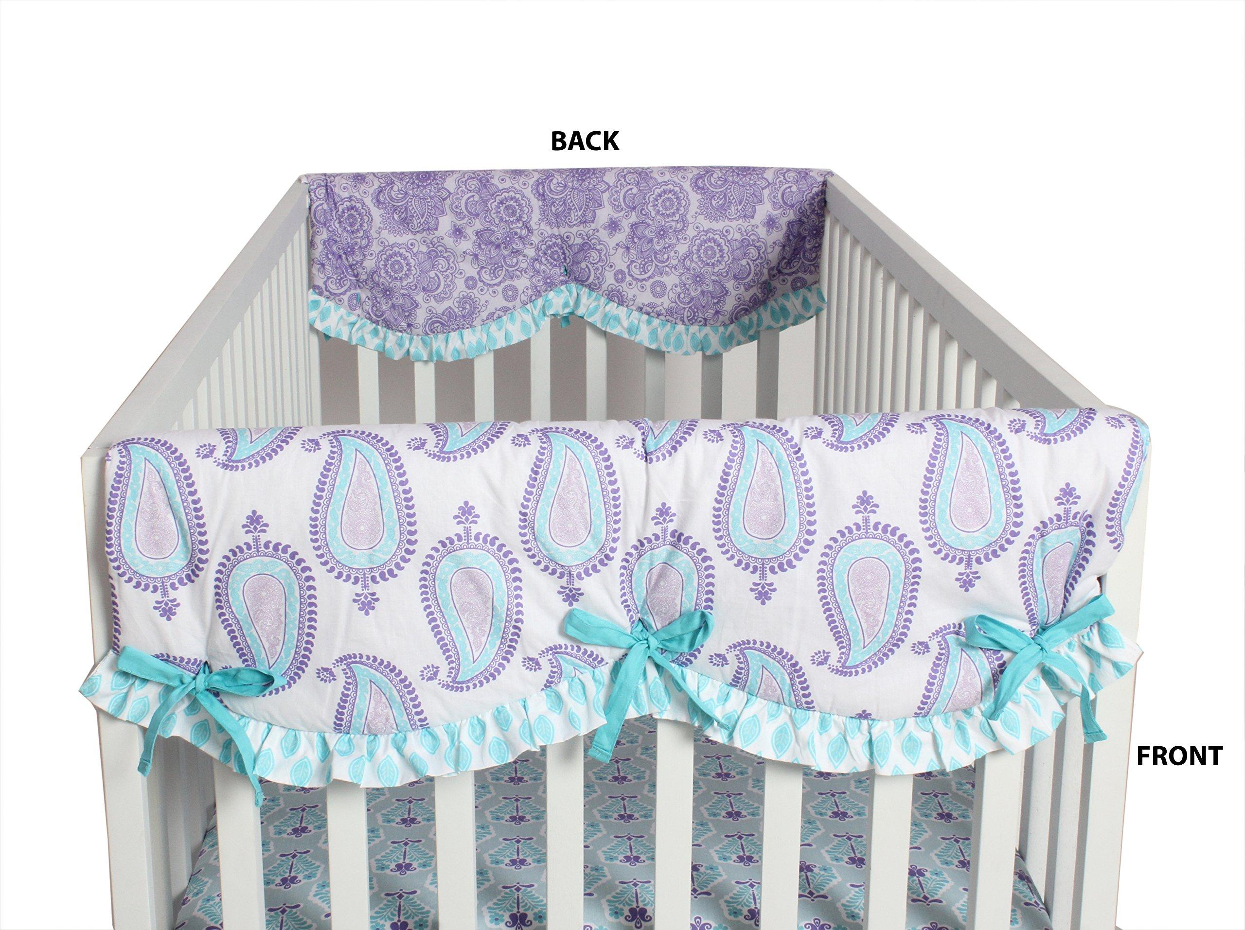 Bacati Isabella Girls Paisley 2 Piece Side Crib Rail Guard Cover, Lilac/Purple/Aqua