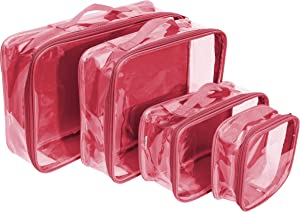 Clear Travel Packing Cubes Set of 4 for Carry On (XS, Small, Medium, Large) / See-Through Clothes Organizer Dividers for Suitcase / Transparent Vinyl PVC Cell Pouches for Luggage (Burgundy)
