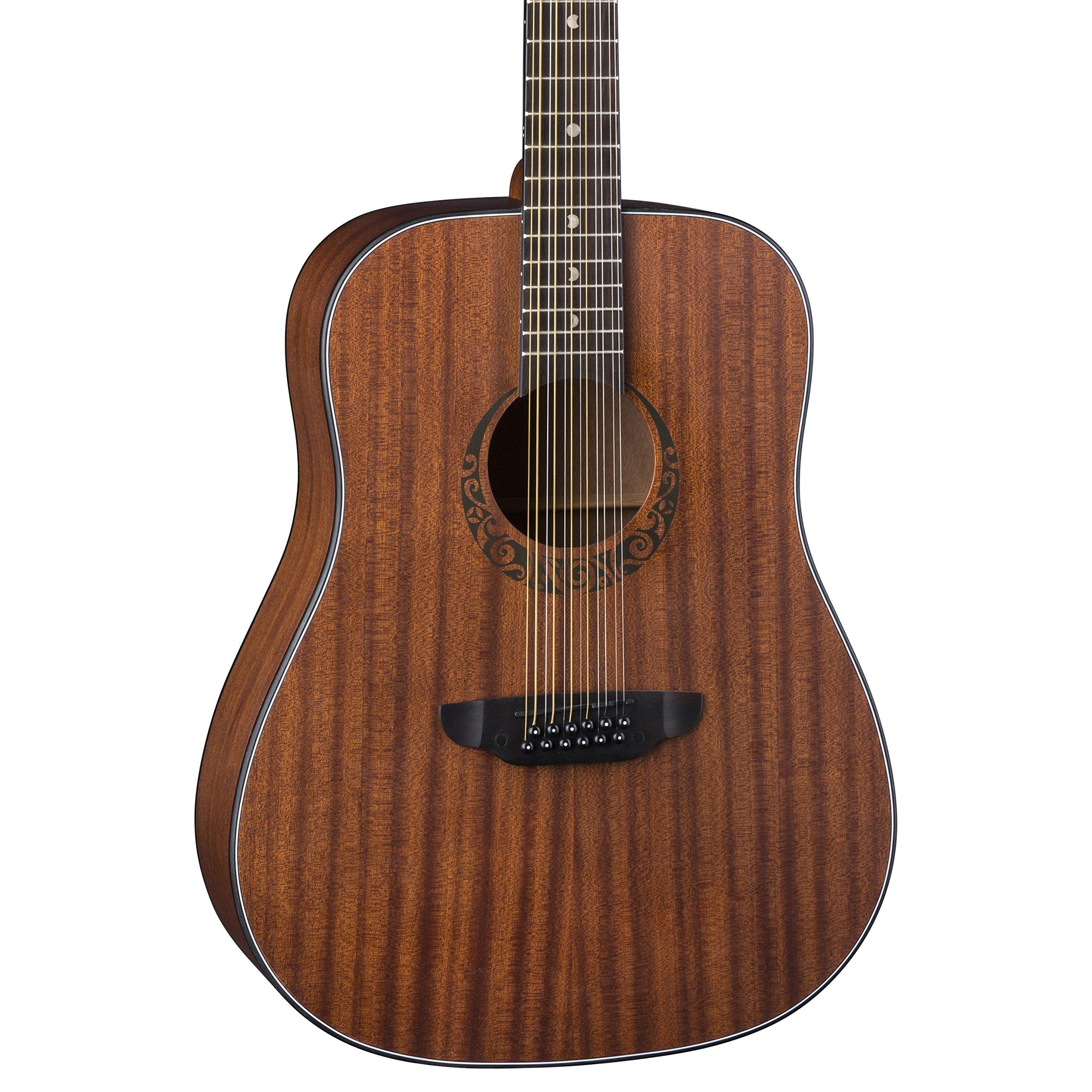 Luna Gypsy Dreadnought 12-String Mahogany Acoustic Guitar, Satin Natural by Luna Guitars