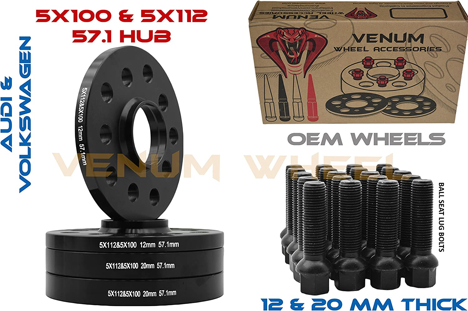 M14 to 5x112 57.1 M14 57.1 Stance+ 20mm Hubcentric Wheel PCD Adapters 5x100
