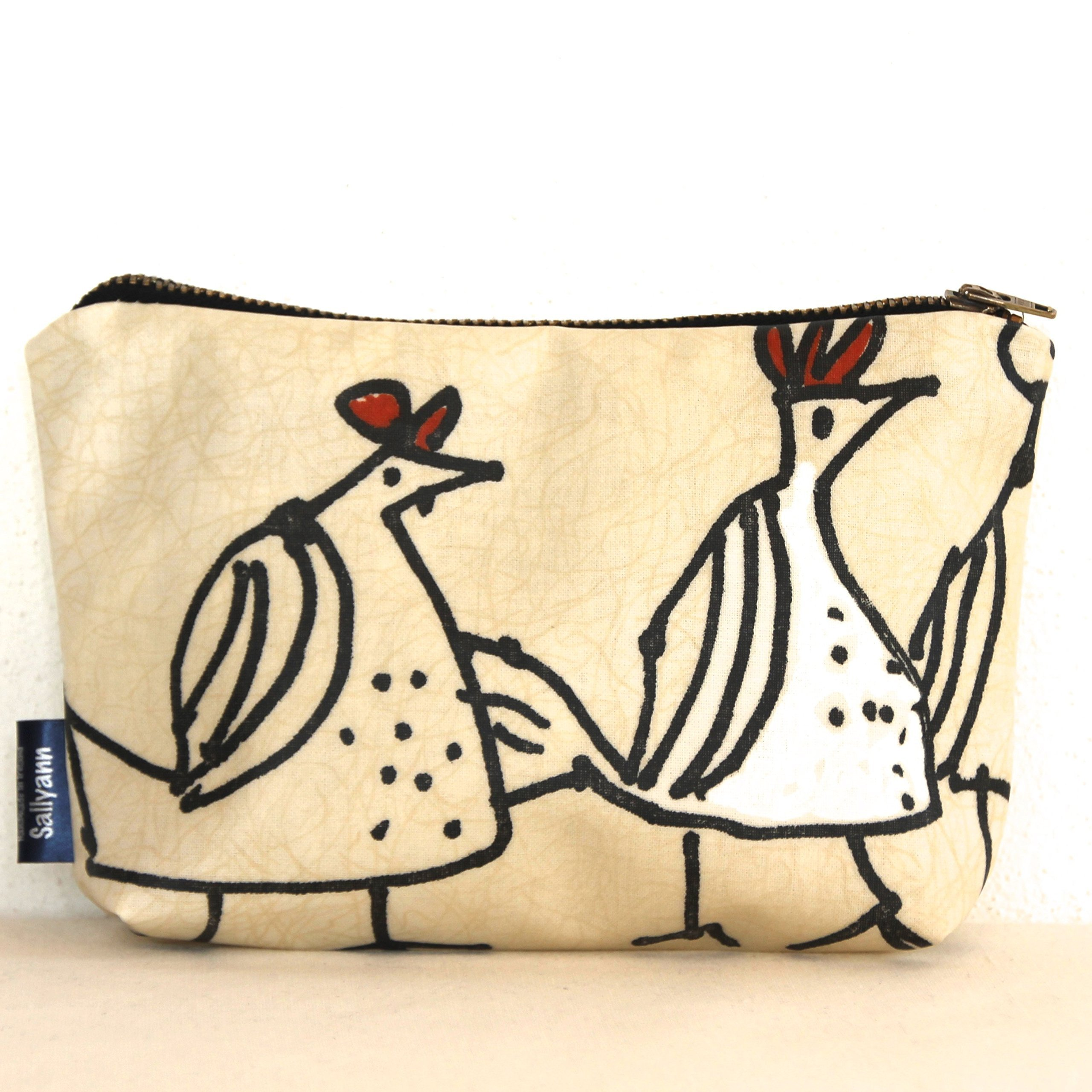 Large Funky Chicken Print Coin Purse Change Pouch