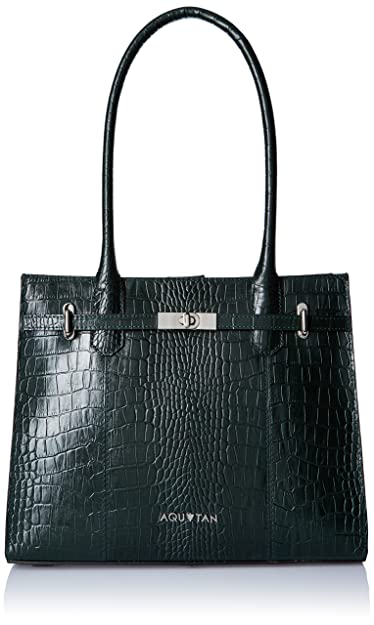 Aquatan Women's Jetsetter Large Croco Leather Workbag Dark Emerald Green AT-L-04