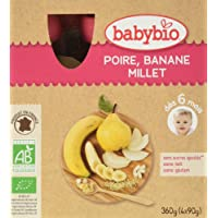 Babybio Gourde Poire Banane Millet 6+ Mois 360 g - Lot de 3