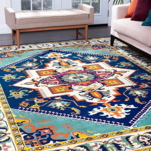 Tayse Gaya Aqua 9×12 Rectangle Area Rug for Living, Bedroom, or Dining Room – Boho, Oriental