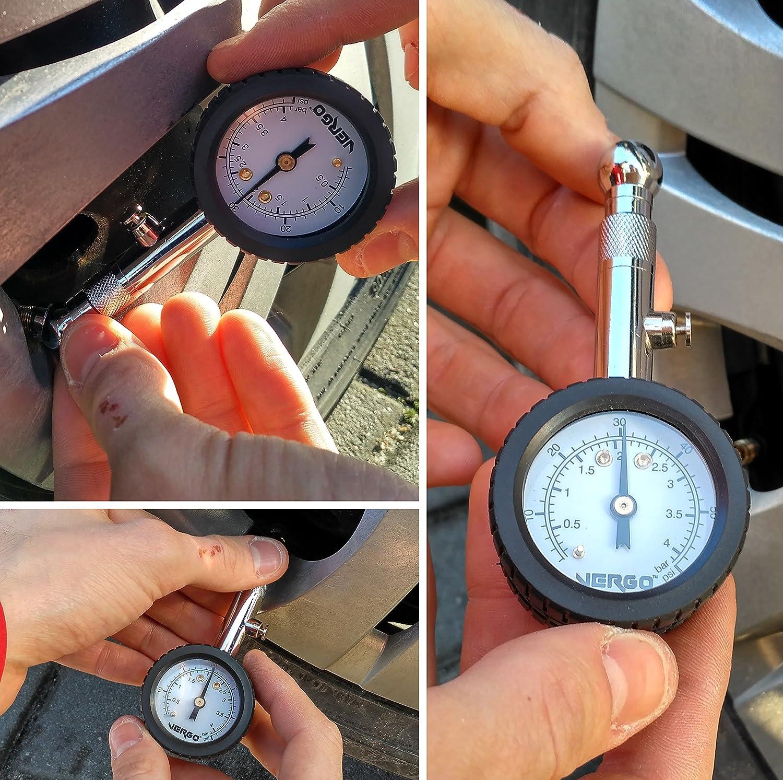 360 /° Einstellbar schwenken VERGO Reifendruckmesser Dual Scale 0-60 PSI // 0-4 BAR Druckhalte und Reset-Taste
