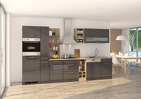 Held Möbel 584.1.6211 Mailand Küche, Holzwerkstoff, hochglanz grau ...