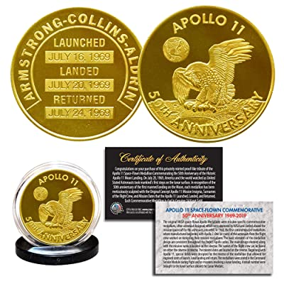 Apollo 11 50th Anniversary Commemorative NASA Robbins Medallion Tribute Coin clad in 24K Gold with Capsule: Everything Else